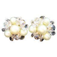 Vintage Mint Green Imitation Pearl & Crystal Beaded Earrings