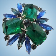 Vintage Dimensional Blue Green Geometric Design Brooch