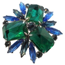 Vintage Dimensional Blue Green Rhinestones Geometric Design Brooch