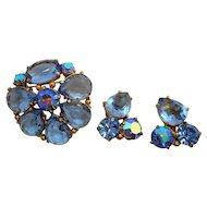 Vintage Aurora Blue Ice Schiaparelli Brooch & Clip On Earring Set