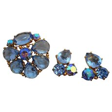 Vintage Aurora Blue Ice Schiaparelli Brooch & Clip On Earring Set