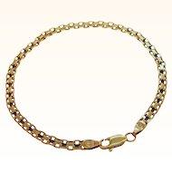 Vintage 14k Gold Textured Interlocking Link Bracelet Made in Italy