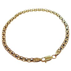 Vintage 14k Gold Textured Interlocking Link Bracelet Made in Italy