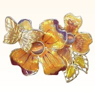 Vintage Dimensional Enameled Butterfly & Flowers Brooch