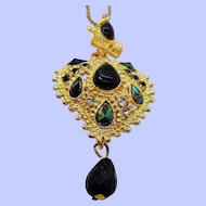 Vintage Elegant Textured Goldtone Rhinestone Green Pendant Necklace