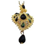 Vintage Elegant Textured Goldtone Rhinestone Green Pendant Necklace