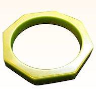 Vintage Olive Green Octagon Bakelite Bangle Bracelet