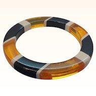 Vintage Translucent Orange Juice Black White Striped Lucite Bangle Bracelet