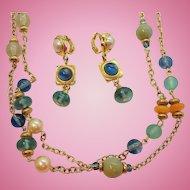 Vintage Liz Claiborne Imitation Pearl Blue Green Beaded Necklace & Dangle Clip On Earring Set