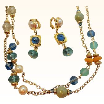 Vintage Liz Claiborne Imitation Pearl Blue Green Beaded Necklace & Dangle Clip On Earring Set