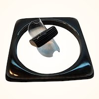 Retro Black Striped Layered Laminated Lucite Square Bangle Ring Set