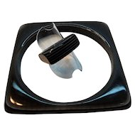 Retro Black Striped Layered Laminated Lucite Square Bangle Ring Set