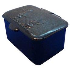 Vintage Black Plastic Trinket Box  Goose Chasing Child