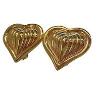 Vintage Alana Stewart  Shiny Textured Goldtone Heart Clip on Earrings