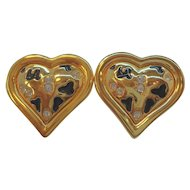 Vintage Alana Stewart Rhinestone Heart Shaped Clip On Earrings