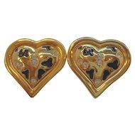 Vintage Alana Stewart Rhinestone Heart Shaped Clip On Earrings