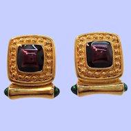 Vintage Alana Stewart Rectangular Goldtone Metal Clip On Earrings