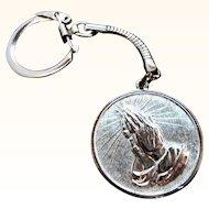Vintage Silvertone Metal Praying Hand Serenity Prayer Key -Chain Fob