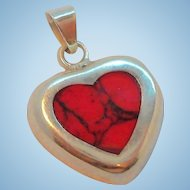 Vintage Sterling Silver Inlaid Red Stone Heart Pendant