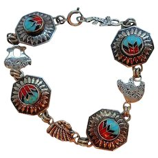 Vintage Quoc Turquoise Company  Sterling Navajo Style Inlaid Stone Bracelet