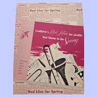 Lentherie's Red Lilac  for Spring Promotional Advertising  March April May 1953