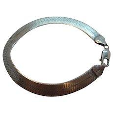 Vintage Wide Herringbone Sterling Silver Bracelet