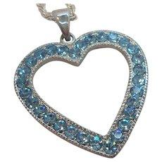 Vintage Silvertone Ice Blue Rhinestone Heart Pendant Necklace