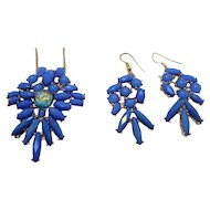 Vintage Holly Hill Blue Cabochons Pendant Necklace  Dangle Pierced Earrings