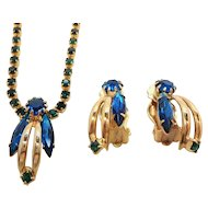 Vintage Blue Green Rhinestone Necklace Clip On Earring Set