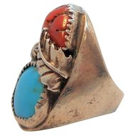 Vintage Sterling Silver Dimensional Chunky Navajo Genuine Stones Ring