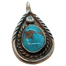 Vintage Native American Textured Sterling Silver Genuine Turq Blue Stone Pendant