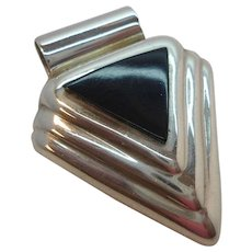 Vintage Dimensional Triangular Shaped  Black Inlaid Stone Pendant