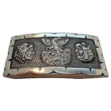 Vintage Native American Sterling Silver Belt Buckle Mexico