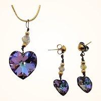 Vintage Crystal Heart Pendant Necklace & Dangle Pierced Earring Set