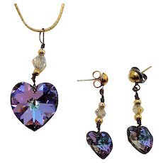 Vintage Crystal Heart Pendant Necklace & Dangle Pierced Earring Set