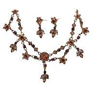 Vintage Goldtone Dainty Rhinestone Choker Necklace Dangle Pierced Earring Set