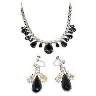 Vintage Metallic Clear Rhinestones Choker Necklace & Dangle Earring Set 2