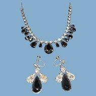 Vintage Metallic Clear Rhinestones Prom Choker Necklace  Dangle Earring Set 2