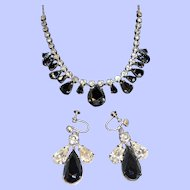 Vintage Metallic Clear Rhinestones Prom Choker Necklace  Dangle Earring Set 2