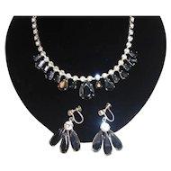 Vintage Metallic Clear Choker Rhinestone Necklace Dangle Earring Set
