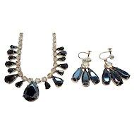 Vintage Metallic Clear Rhinestone Choker Necklace & Dangle Earring Set 3
