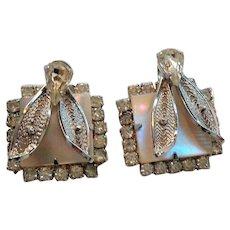 Vintage Rhinestone Mother of Pearl Silvertone Metal Screw On Earrings