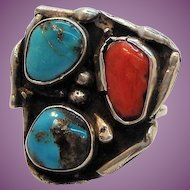 Vintage Native American Sterling Silver Ring Red Blue Genuine Stones