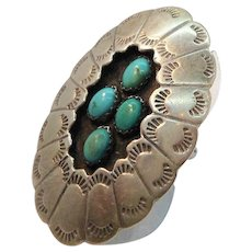 Vintage Native American Sterling Silver Ring Genuine Stones