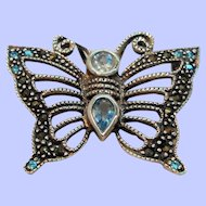 Vintage Sterling Silver Genuine Marcasite Blue Crystal Butterfly Pin