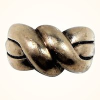 Vintage Sterling Silver Ring Textured Twisted Rope Stylized  Ring