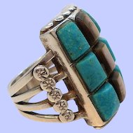 Vintage Rectangular Shaped Checkerboard Pattern Sterling Genuine Stone Ring