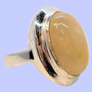 Vintage Sterling Silver Translucent Oval Shaped Genuine Stone Ring Thailand