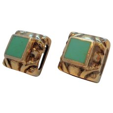 Vintage Textured Square Shaped Sterling Silver Green Inlaid Stone Pierced Earrings