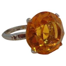 Vintage Sterling Silver Ring Round Faceted Orange Crystal Stone